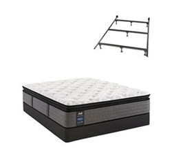 Sealy TwinXL Size Plush Euro Pillow Top Mattress and Box Spring Set W Frame  sealy smb rachel clare pl ept