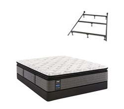 Twin Size Plush Euro Pillow Top Mattress and Box Spring Sets with Bed Frame sealy smb rachel clare pl ept