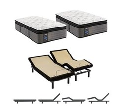 Sealy King Size Plush Euro Pillow Top Mattress and Adjustable Base Bundles rachel clare plush euro pillow top split king size mattress and adjustable base