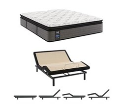 Twin XL Size Plush Euro Pillow Top Mattress and Adjustable Base sealy smb rachel clare pl ept