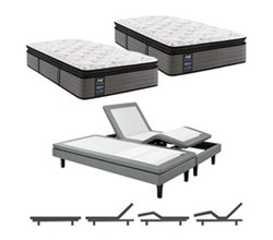 Sealy King Size Plush Euro Pillow Top Mattress and Adjustable Base Bundles rachel clare plush euro pillow top split king size mattress and adjustable base with massage feature
