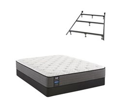 Sealy Queen Size Cushion Firm Euro Top Mattress and Box Spring Set W Frame  sealy smb hallie grace pl tt