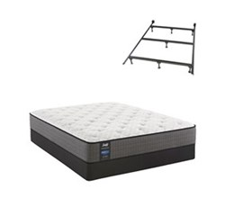 Sealy Queen Size Cushion Firm Euro Top Mattress and Box Spring Set W Frame  sealy smb hallie grace cf tt