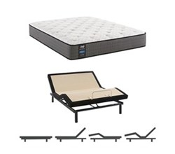 Eastern King Size Cushion Firm Euro Top Mattress and Adjustable Base sealy smb hallie grace cf tt