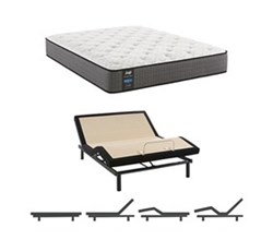 Eastern King Size Cushion Firm Euro Top Mattress and Adjustable Base sealy smb hallie grace pl tt
