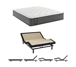 Eastern King Size Cushion Firm Euro Top Mattress and Adjustable Base sealy smb hallie grace cf ept