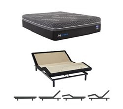 Sealy Cal King Size Plush Mattress and Adjustable Base Bundles sealy hybrid premium silver chill plush cal king size mattress and adjustable base